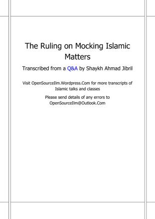 178207905 the ruling on mocking islamic matters pdf download pdf book